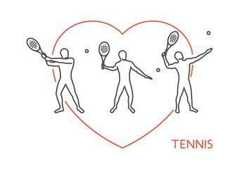 Vector line vector logo for tennis.