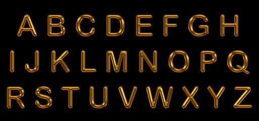 set of gold alphabet