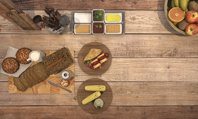 3d rendering look delicious breakfast with fruit on wooden table