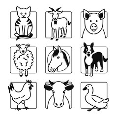 Nine popular farm animals in black outline