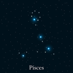 Pisces zodiac sign. Bright stars in the cosmos. Constellation Pisces. Vector illustration.