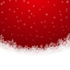 Beautiful  winter background with snowflakes on deep red. Vector illustration.