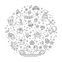 wedding outline symbols. Vector illustration