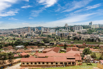 View from the above of the Capital city Kampala in Uganda