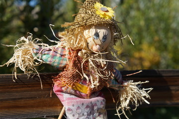 Scarecrow girl on a wooden fence