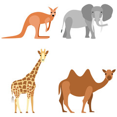 Set of animals: elephant, camel, giraffe, kangaroo