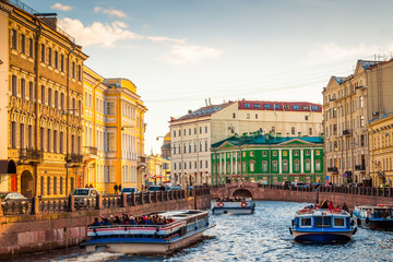 Scenic view of the canal in Saint Petersburg, Russia.