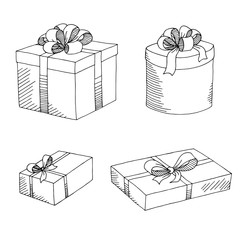 Present box graphic set art black white isolated sketch illustration vector