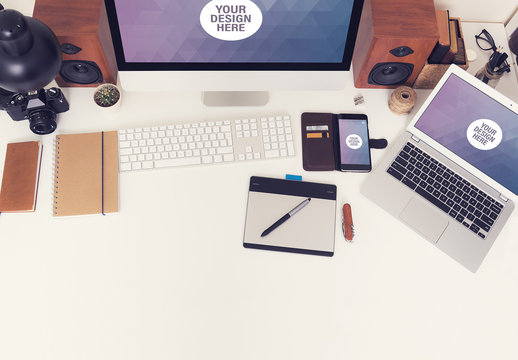 Desktop Computer and Laptop on a Neat Desk with Gadgets Mockup 5