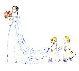 Two baby girls carrying white long train bridesmaid dress, hand painted watercolor illustration isolated