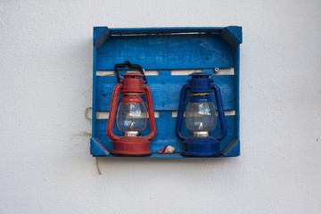 lamps in the frame on the wall