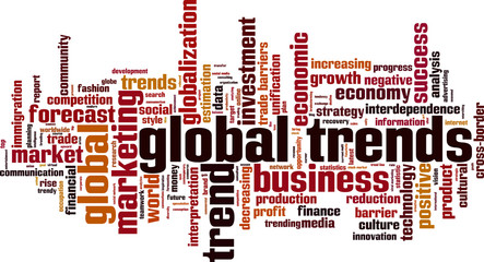 Global trends word cloud concept. Vector illustration