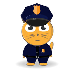 Character police in officer's cap and in the form of police. Vector illustration