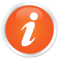 Info icon orange glossy round button