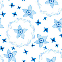 Watercolor seamless pattern with blue flowers isolated on white. Blue floral repeating background for wrapping paper, textile, fabric etc.