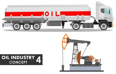 Oil industry concept. Detailed illustration of gasoline truck and oil pump in flat style on white background. Vector illustration.