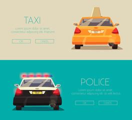Police and Taxi car. Vector cartoon illustration