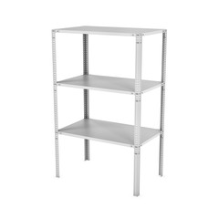 Rendering of three-storey light metal rack isolated on the white background.