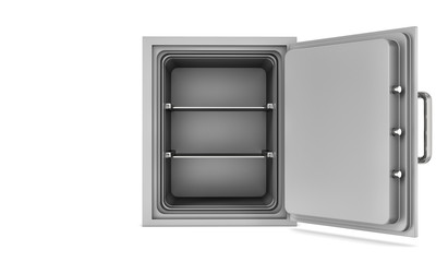 Rendering opened empty steel safe box placed in front of viewer isolated on white background