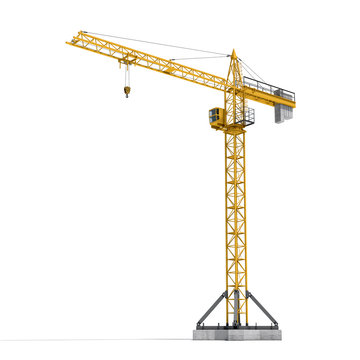 Rendering of yellow tower crane full-height isolated on the white background.