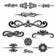 Collection of hand drawn vintage frame for text decoration in ve