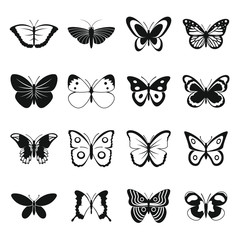 Butterfly icons set. Simple illustration of 16 butterfly vector icons for web