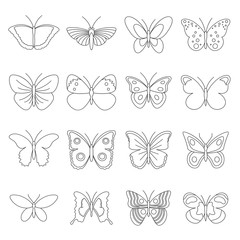 Butterfly icons set. Outline illustration of 16 butterfly vector icons for web