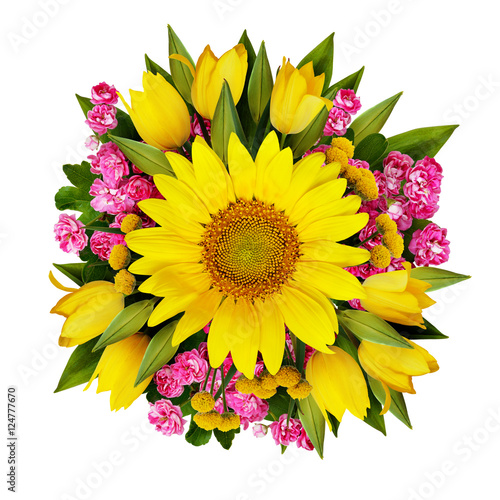 """Sunflower, Tulips And Hawtorn Flowers Bouquet"" Stock"