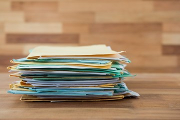 Stack of files on table