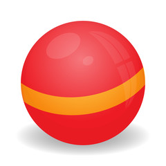 Image of Child ball of red color with a yellow stripe in the middle