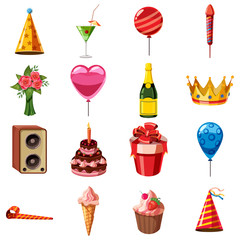 Birthday icons set. Cartoon illustration of 16 birthday vector icons for web