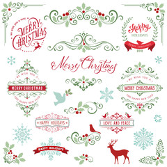 Ornate Christmas frames and swirl elements with Merry Christmas quotes, snowflakes, dove and bird.