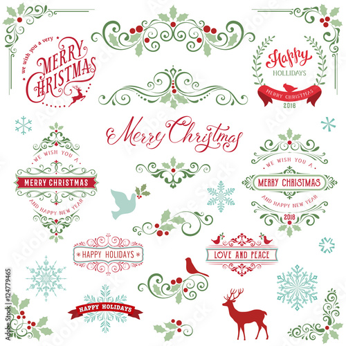 Ornate Christmas Frames And Swirl Elements With Merry Christmas Quotes,  Snowflakes, Dove And Bird