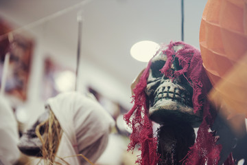 Skulls and spooky atmosphere in a store before Halloween