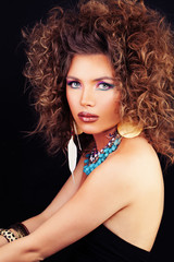 Beautiful Woman Fashion Model with Curly Hair, Makeup and Access