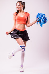 Cheerleader: Pretty Cheerleader With Poms
