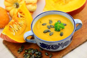 Kürbiskerne Suppe Hokkaido