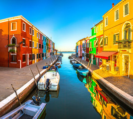 Italy beauty, morning atmosphere of one of canal streets on Burano island, Venice , Venezia