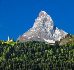 Swiss beauty, church under breathtaking Matterhorn,Valais,Switzerland,Europe