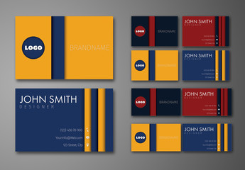 Circle and Stripe Element Business Card Layout