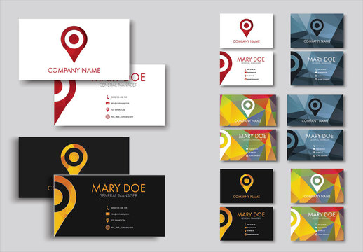 Map Pin Element Business Card Layout with Polygonal Background