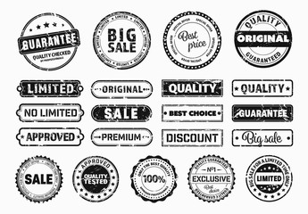 21 Vintage Stamp Style Label and Sticker Layouts