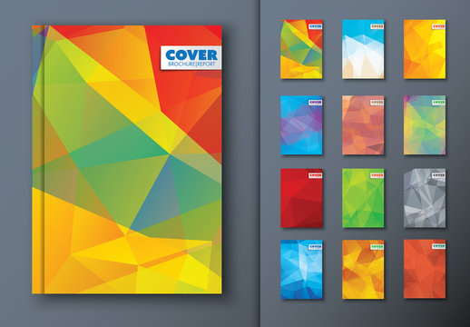 12 Bright Abstract Polygonal Book Covers