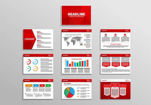 10 Red Polygonal Element Presentation Slides