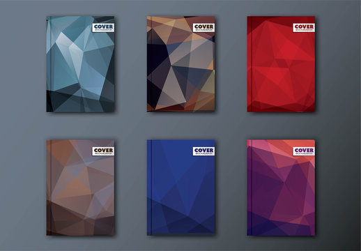 6 Dark Abstract Polygonal Book Covers