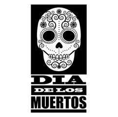 Dia de los Muertos design in black and white. EPS 10 vector.