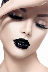 Self adhesive Wall Murals Fashion Lips Beauty fashion model girl with black makeup