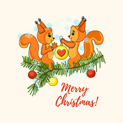 Christmas cute card with squirrel and christmas tree.