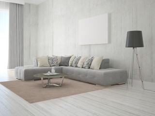 Living room in a modern style with a corner sofa and empty frame.