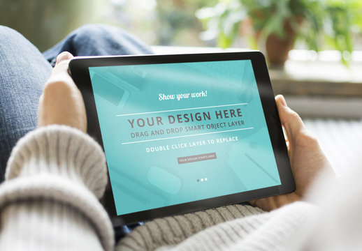 User Relaxing with Tablet Mockup 1
